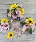Wedding Bouquet, Bridal Bouquet, Bridesmaid Bouquet, 17 PIECE PACKAGE, Silk Flower, Wedding Flower, Sunflowers, Dusty Pink, Lily of Angeles