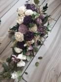 Shades of purple cascading bouquet, wedding flowers, sola wood flower