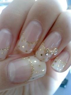 Gold Polka Dots French Manicure Wedding Nails With Alloy Rhinestones Bow Tie