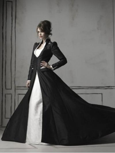 Wedding - Black and White Long Sleeves Gothic Wedding Dress
