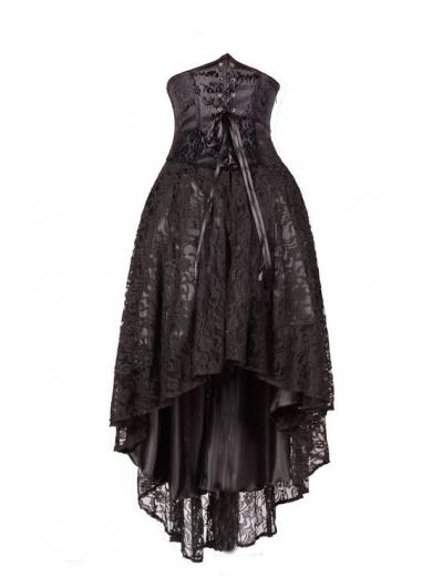 Wedding - Black Corset Lace High-Low Gothic Party Dress