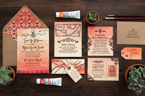 Wedding Invitations Az: Trisha + Richard's Arizona Sunset Wedding Invitations