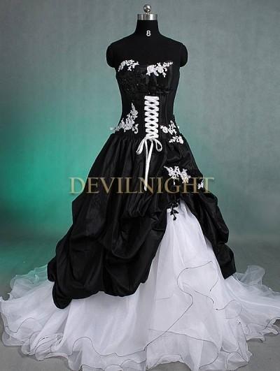 Wedding - Black and White Romantic Gothic Wedding Dress