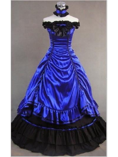 Blue Off-the-Shoulder Masquerade Gothic Ball Gowns #1921468 - Weddbook