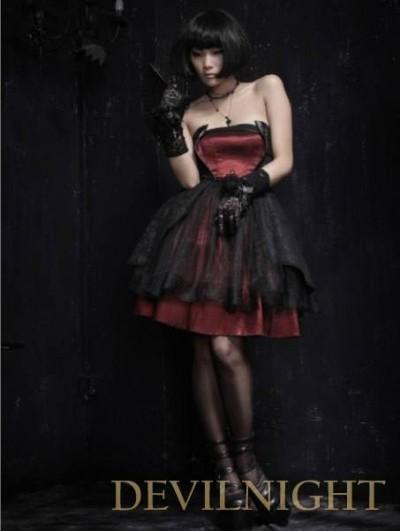 Свадьба - Red and Black Gothic Pattern Party Dress