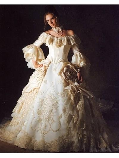 Wedding - Off-the-Shoulder 3/4 Trumpet Sleeves Queen Style Victorian Wedding Dress