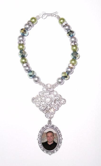 Mariage - Wedding Bouquet Memorial Photo Oval Metal Charm Sage Sea Green Crystal Gems Pearls Diamond Tibetan Beads - FREE SHIPPING