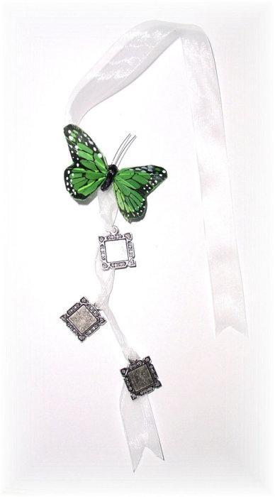 Mariage - DIY - Wedding Bouquet Memorial Triple Silver Square Green Butterfly Photo Ribbon Mini Charm