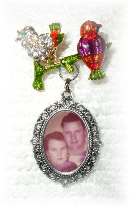Mariage - Memorial Brooch with Silver Photo Charm Birds on a Branch Enameled Red Green Crystal Gems - FREE SHIPPING