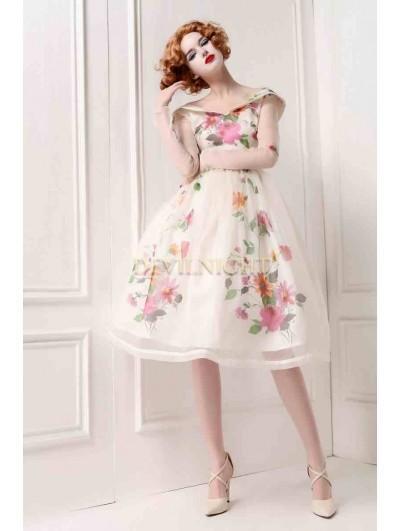 Silk Floral Printed Pattern Long Sleevs 1950s Vintage Party Dress