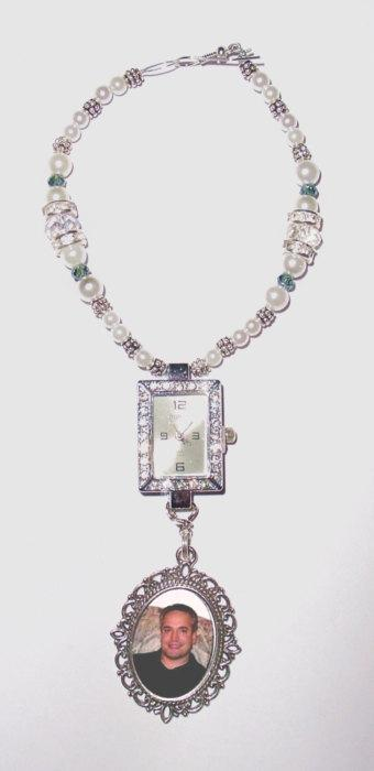 Свадьба - Moment in Time Wedding Bouquet Memorial Photo Charm Silver Crystals Something Blue Pearls Tibetan Beads - FREE SHIPPING