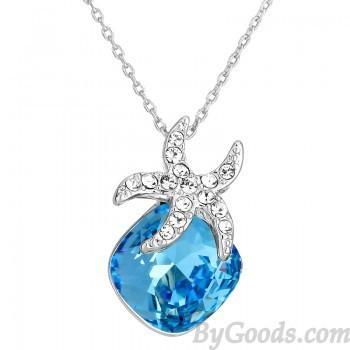 Свадьба - Shining Starfish Blue Crystal Pendant Necklace