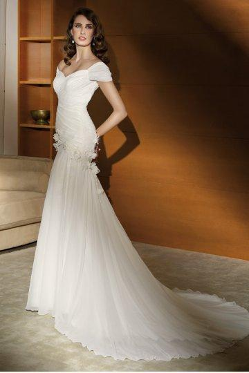 Wedding - Sweetheart Off Shoulder Sweep Train Chiffon Mermaid Wedding Dress