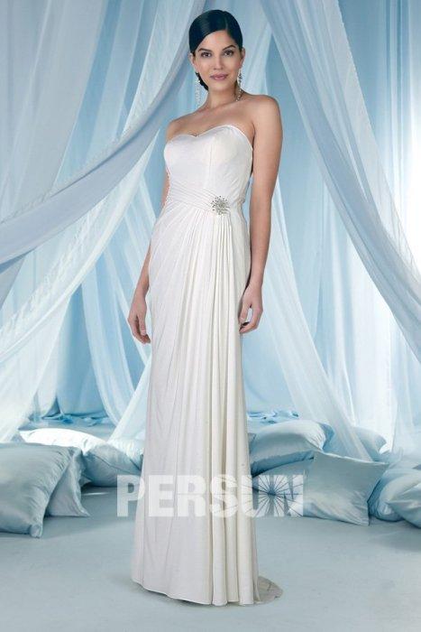 Wedding - Sheath Sweetheart Pleats Beaded Chiffon Wedding Dress