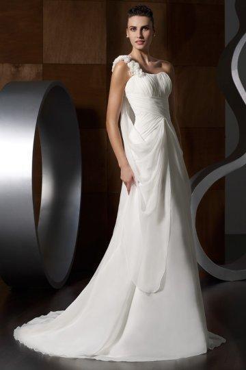 Wedding - One Shoulder Beaded Applique Chiffon Wedding Dress