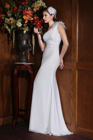 زفاف - A-line One Shoulder Ruched Empire Chiffon Wedding Dress