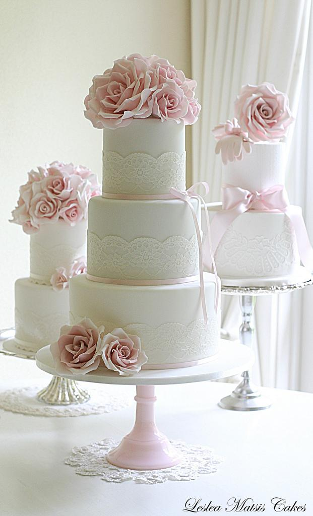 Wedding - Pink roses and lace wedding cake
