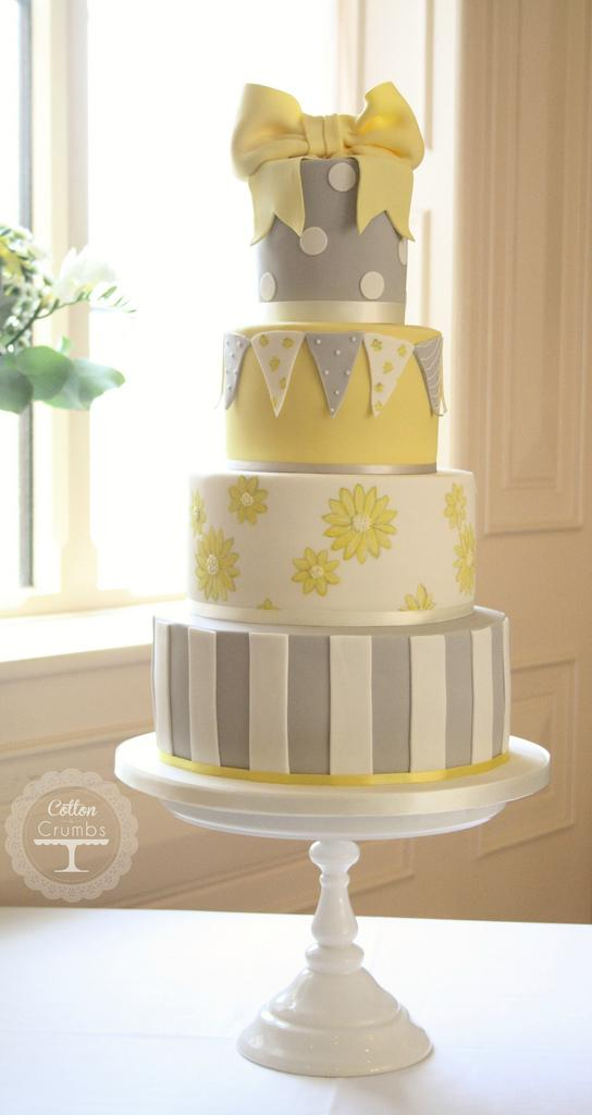 yellow wedding yellow grey cath kidston cake 1930641 weddbook