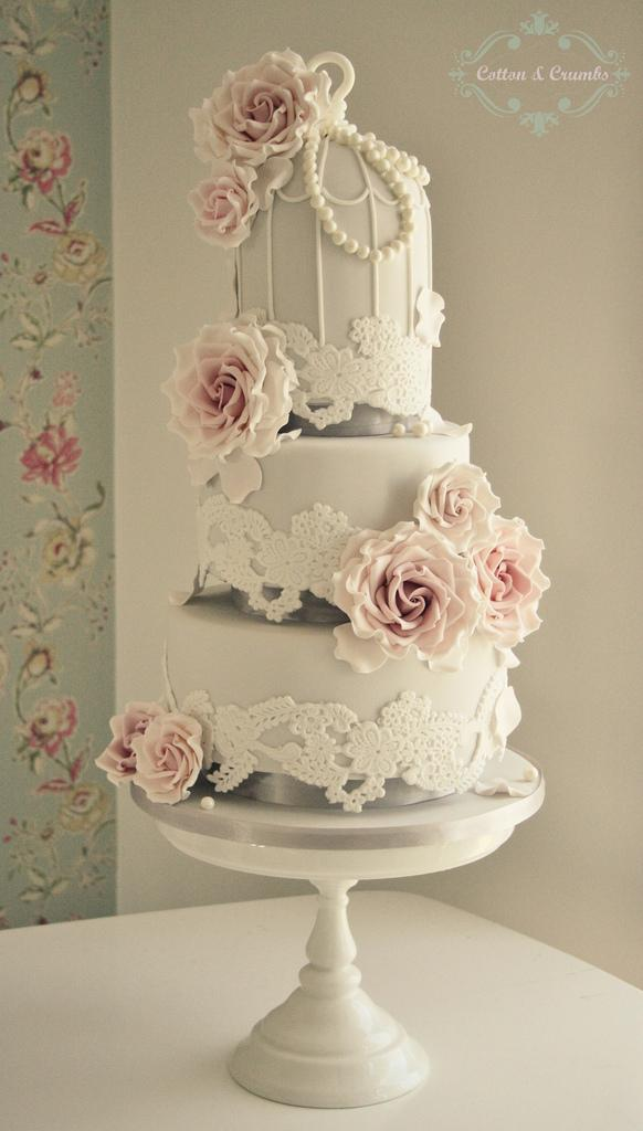 Wedding - Lace Birdcage wedding cake