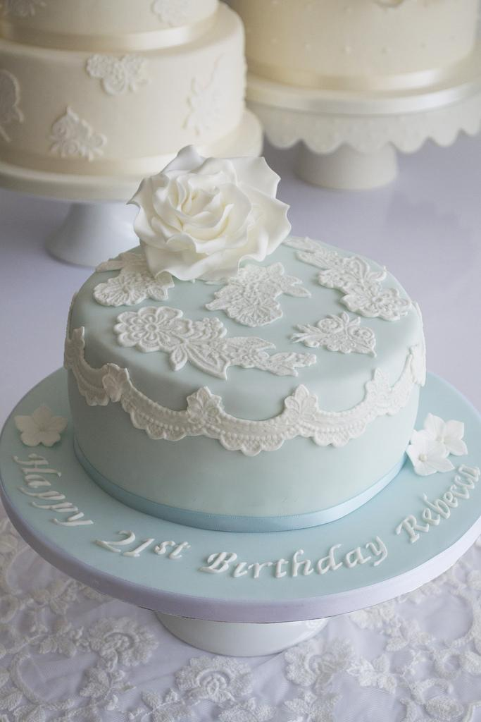 Blue Lace 21st Birthday Cake