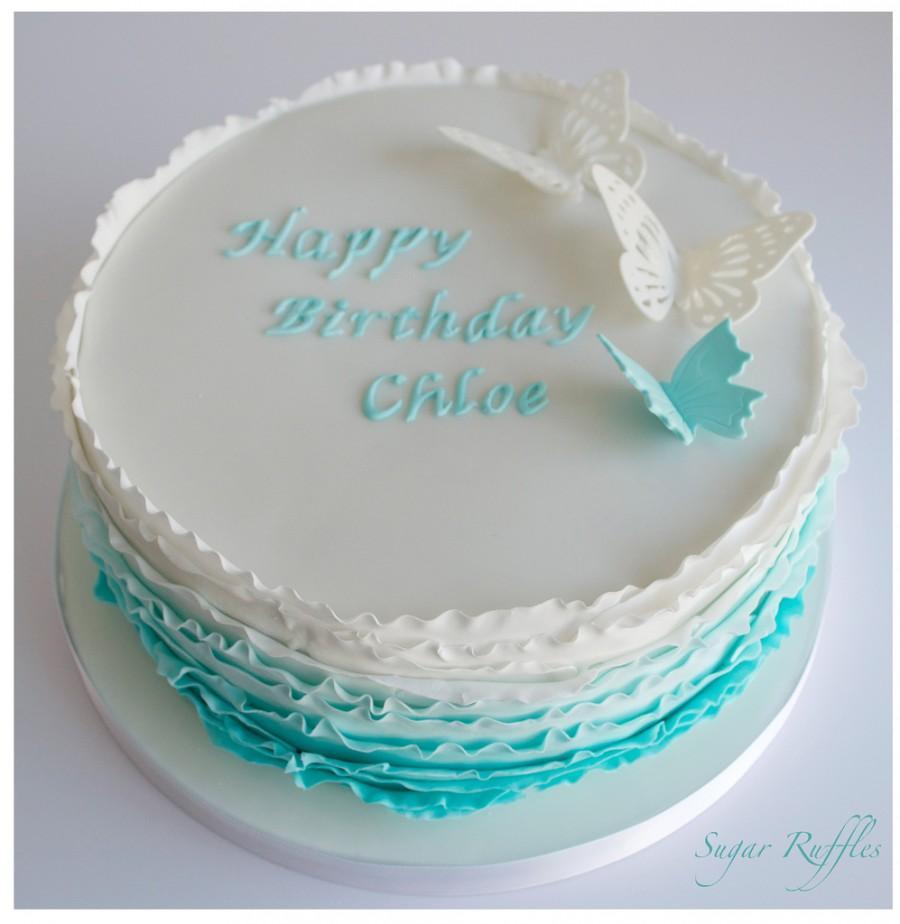Turquoise Wedding - Turquoise Ombre Birthday Cake #1930712 - Weddbook