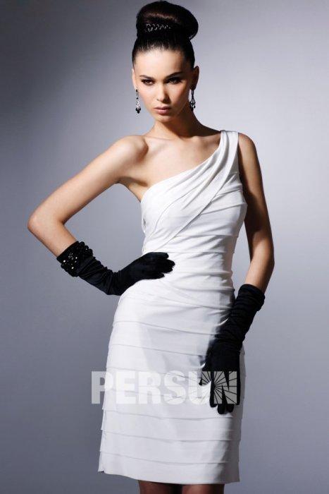 Düğün - One Shoulder Horizontal Pleat Short Cocktail/Prom Dress