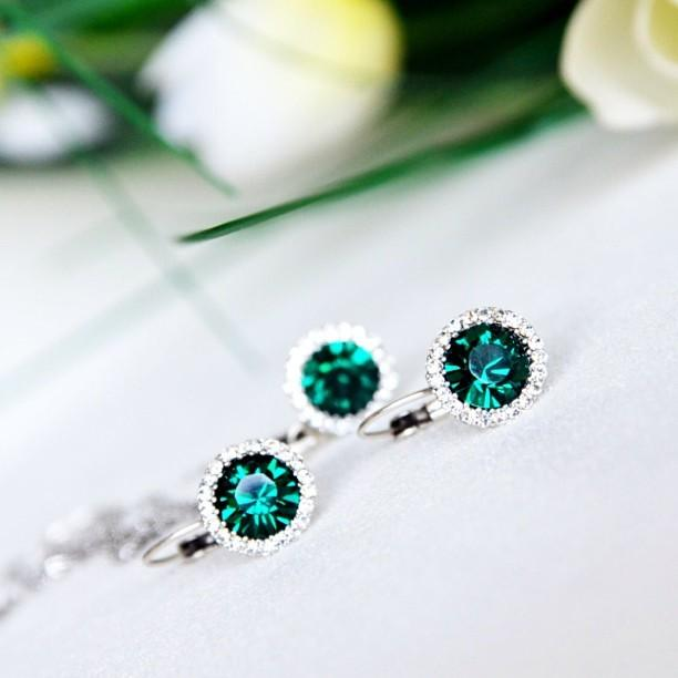 Mariage - emerald bridal bridesmaids jewelry set necklace earrings clear crystal