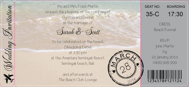 Wedding - Framed Beachscape Boarding Pass Invite in Black - DreamDay Invitations
