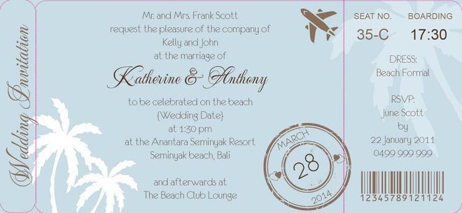 Wedding - Palm Breeze Boarding Pass Invite in Eggshell Blue - DreamDay Invitations