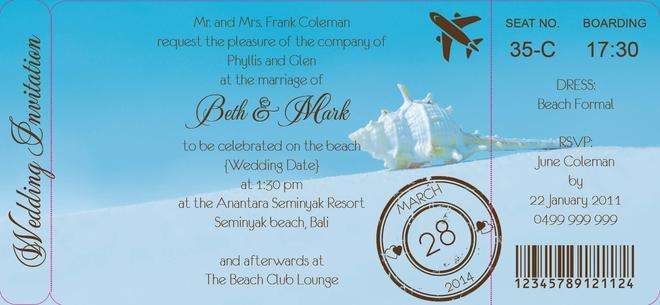 Wedding - Perfectly Poised Boarding Pass Invite - DreamDay Invitations