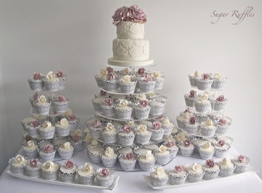 Wedding Cupcakes - Ivory & Amnesia Rose Cupcake Tower #1973859 ...