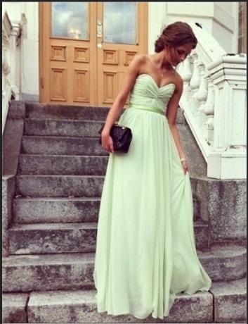Wedding - Chic Sage Sweetheart Floor Length Prom Dress/Graduation Dress