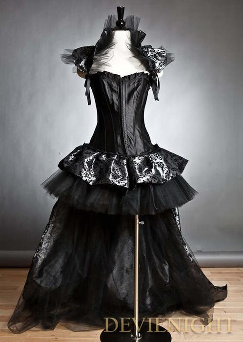 Black Fashion Gothic Corset Burlesque High-Low Prom Party Dress ...