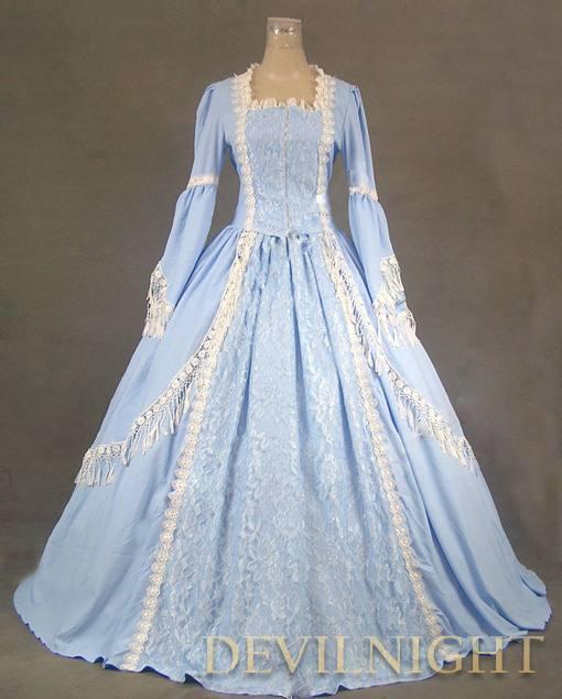 Wedding - Elegant Blue Lace Victorian Dress