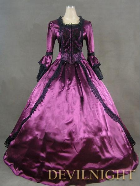 Wedding - Purple Marie Antoinette Masked Ball Victorian Costume Dress
