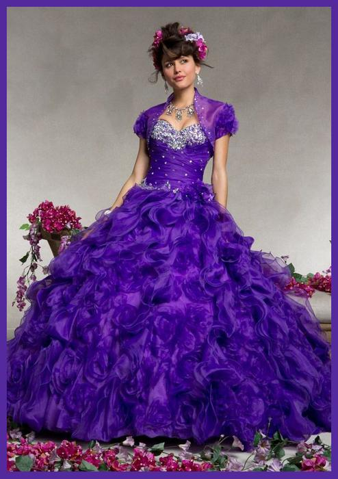 Wedding - Purple Ruffled Beaded Sweetheart Neck Quinceanera Gown
