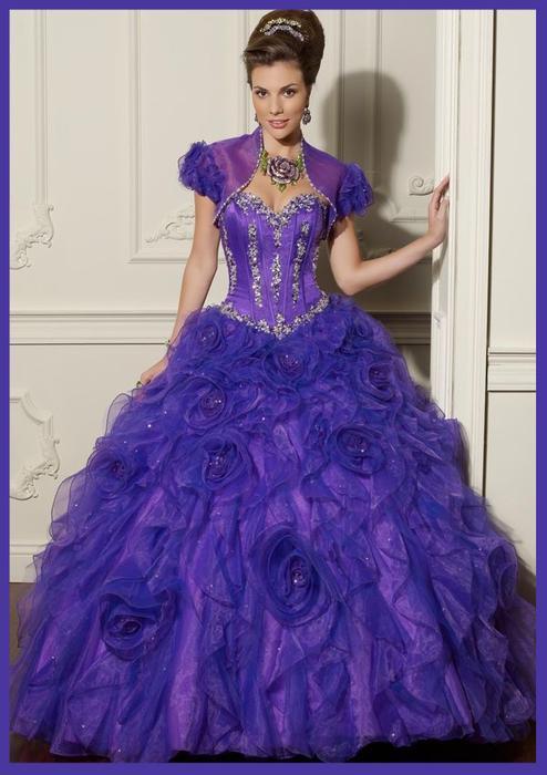 Wedding - Purple Beaded Corset Sweetheart Flower Quinceanera Dress