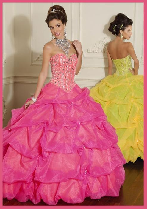 Mariage - Pink Beaded Organza Sweetheart Quinceanera Dress