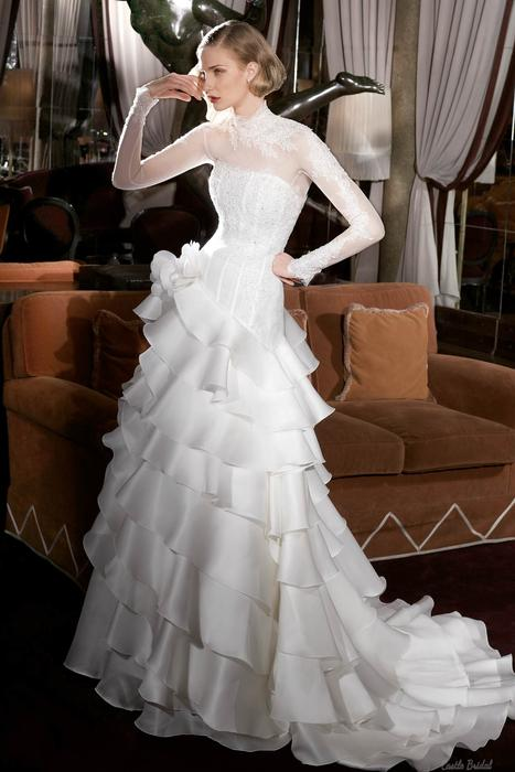 زفاف - High Neck Long Sleeves Lace And Tiered Organza Wedding Dress