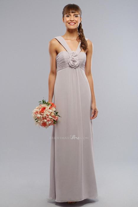 زفاف - Modified V-neck Empire Long Silver Chiffon Flower Bridesmaids Dress