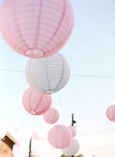 Hochzeit - Pale Pink & White Globe Lanterns for Weddings