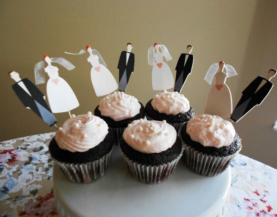 Mariage - Bride and Groom cupcakes