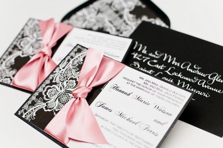 Black White And Pink Wedding Invitations Wedding Invitation Ideas – Black and White Vintage Wedding Invitations