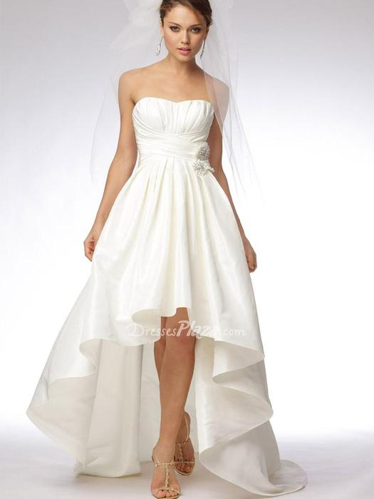 Wedding - Ivory Taffeta High Low Strapless Bridal Dress