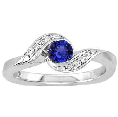 Wedding - 0.30 Carat Round Tanzanite Ring in 14k White Gold