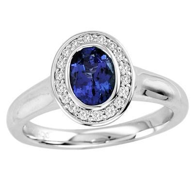 Düğün - 0.68 Carat Oval Tanzanite Ring in 14k White Gold