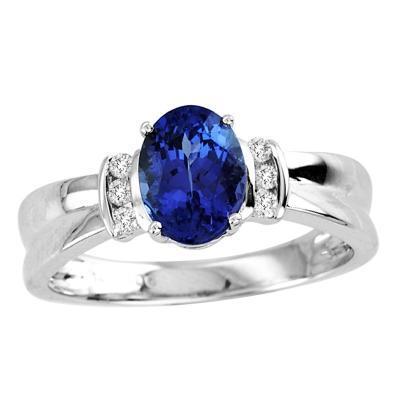 Wedding - 1.05 Carat Oval Tanzanite Ring in 14k White Gold