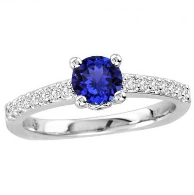 Wedding - 0.55 Carat Round Tanzanite Ring in 14k White Gold