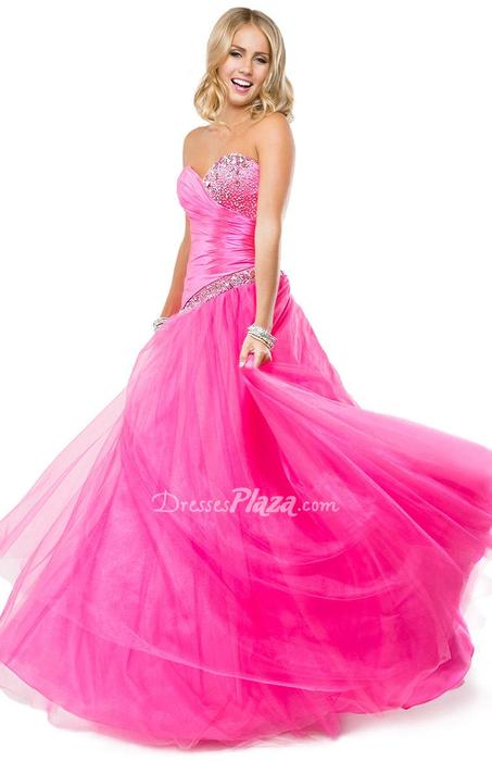 Свадьба - Strapless Sweetheart Pink Satin and Tulle Ball Gown Prom Dress