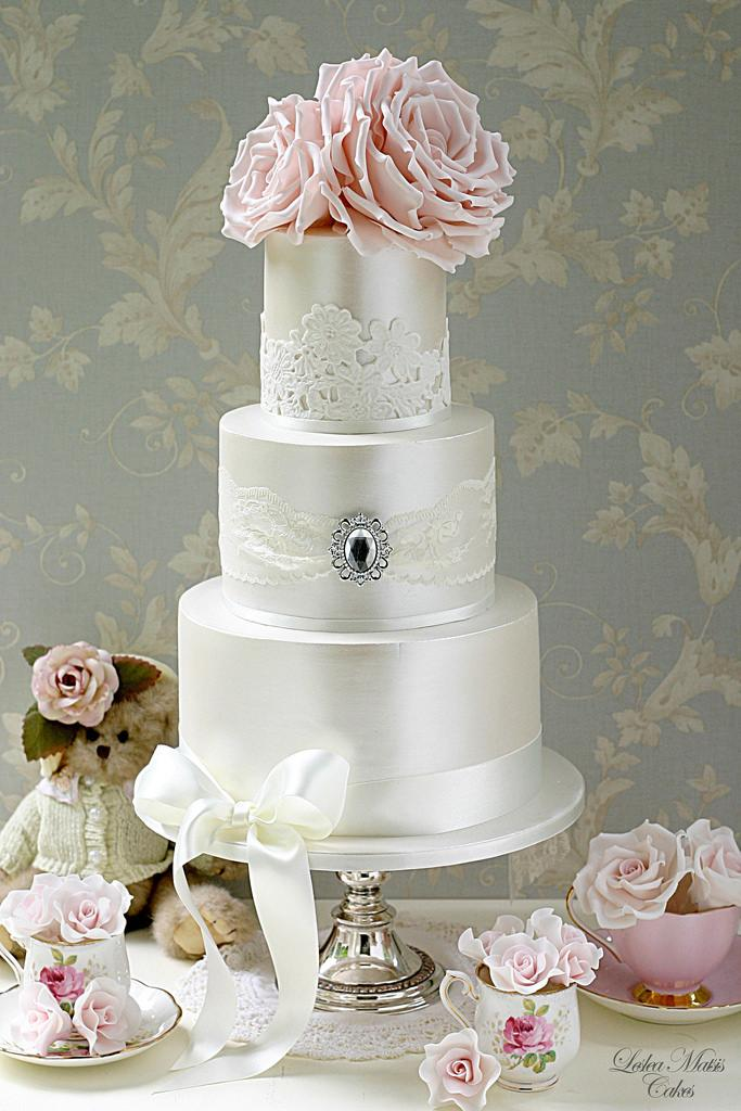 Wedding - Lace And Brooch Cake